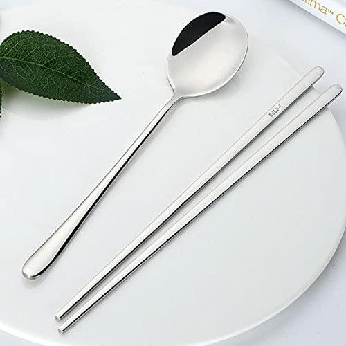 Juego de cucharas de palillos de comida coreana de acero inoxidable 18/8, juego de vajilla de cuchara de postre con mango largo, palillos planos antideslizantes con caja de plata