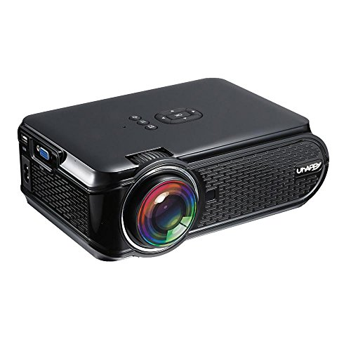 Video proiettore 1500lumen, Pawaca LED Mini video proiettore, proiettore portatile Home Theater 1080p HDMI USB VGA SD AV TV box per home cinema video games