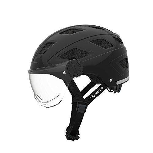Abus Erwachsene Hyban + Fahrradhelm, Black-Clear Visor, L (56-63 cm)