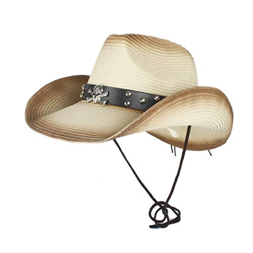 YUXINXIN Western Cowboy hats mannen Vrouwen Summer Straw Cowgirl Kostuum van de Partij Crimping Westerse Hat Sombrero Hombre Cowboy Hoeden for mannen (Color : Beige, Size : 56-58)