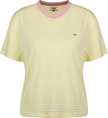 Tommy Jeans Damen TJW Summer Contrast Rib Tee Sportpullover, Gelb (French Vanilla/Classic White 709), Small (Herstellergröße: S)