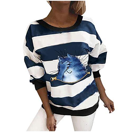 Aujelly Damen Langarm T-Shirt Streifen Print Shirt Casual Sweatshirt Damenblusen...