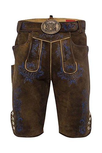 Moser® Herren Lederhose kurz mit Gürtel braun - blau Anderl 002676