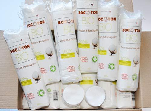 Lote de 2400 discos desmaquillantes 100% algodón orgánico con certificado Ecocert. Más suave que un algodón lavable, económico y práctico, suave para la piel, para uso cosmético y cuidado de la piel
