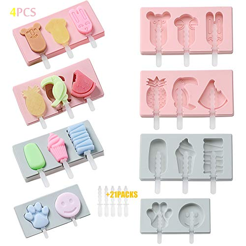 ❶ Desmoldeo fácil ▶Nuestro molde de helado utiliza silicona comestible para bebés completamente no tóxica, que se puede desmoldar inmediatamente después de sacarla del refrigerador. ❷ Diseño desordenado y que ahorra espacio ▶Nuestro molde para helado...