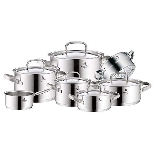 WMF Gourmet Plus Topfset Induktion 7-teilig, Cromargan Edelstahl mattiert, Töpfe mit Metalldeckel, Induktionstöpfe, Innenskalierung, Dampföffnung