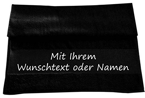 Druckreich Handtuch mit Ihrem Wunschtext oder Namen 100 x 50 cm/Fb. Schwarz