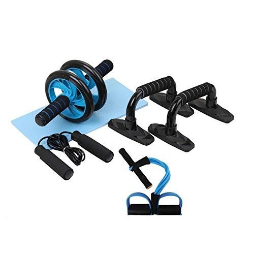 5-teiliges Fitness-Set für den Heim-Fitnessraum Abdominal Roller Resistance Band Springseil Liegestütze Push-up Langhantel-Paket Kit Fitnessgeräte - wie abgebildet