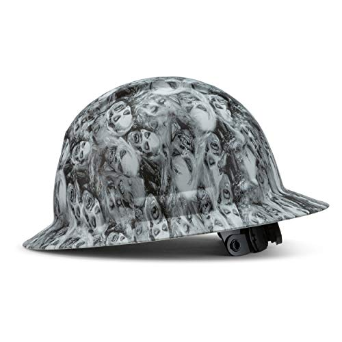 Full Brim Hard Hat Construction OSHA Approved Hardhats, Men Women Safety Helmet, 6 Point, Custom Skull Design, by Acerpal, Zombie Army, White Hat