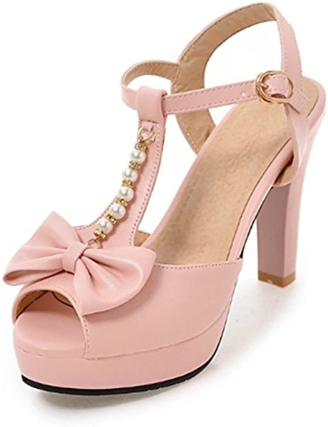 Women's shoes PU Spring Summer Novelty Comfort Sandals Stiletto Heel Peep Toe Bowknot Rivet Buckle for Office,Career Party,Evening