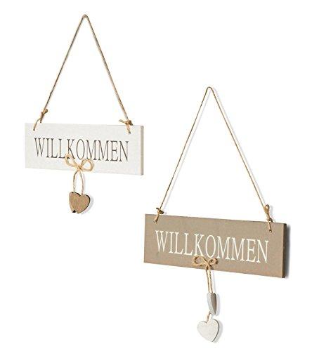 levandeo 2er Set Tür-Schilder Willkommen aus Holz mit Kordel zum Aufhängen - Türhänger Begrüßung Herz Wandschild Türschild Dekoration