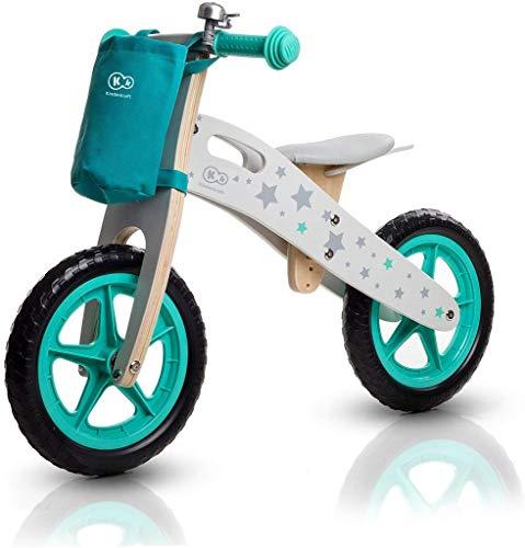 Kinderkraft Runner Stars - Bici senza pedali in Legno, Con Borsa E Campanello, per Bambini, Turchese