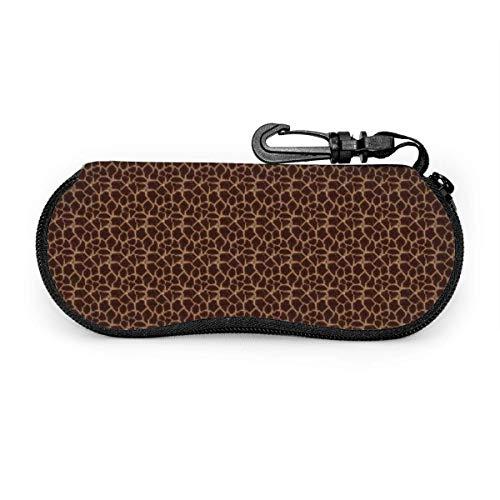 AOOEDM Tragbare Reise-Reißverschluss-Sonnenbrille Hartschalenkoffer Augen Brillen-Box-Tasche (Giraffenmuster Braun Rot Muster Design)