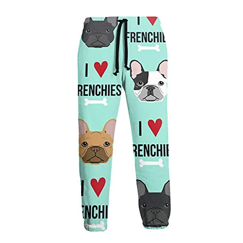 Mens I Love Frenchie Dog Athletic Sweatpants, Casual Fleece Sweatpants with Drawstring and Pockets, S-3XL White