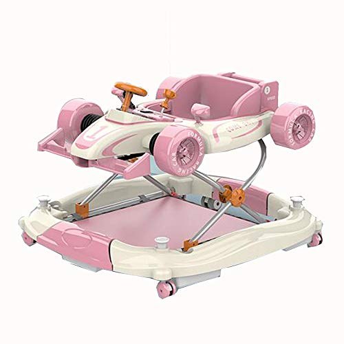 YUMEIGE Lauflernhilfen Lauflernhilfe 2 in 1 Auto Form, faltbar, 4 Höhenverstellung, Lauflernhilfe gehfrei Belastung: 20 kg, kann 20kg, geeignet for 6-18 Monate Baby, blau, rosa standhalten