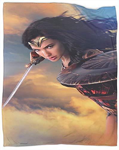 Manta para niños y niñas, diseño de película Wonder Woman como colcha, funda de cama, suave, ligera, cálida y acogedora, tamaño 50 x 70 pulgadas