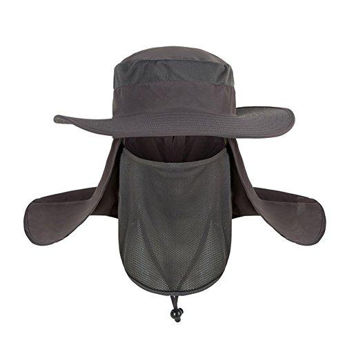 QCHOMEE Chapeau de Soleil Hommes Casquette Visière Large Bord 360° Protection Visage Cou Amovible...
