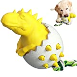 Juguete de masticación de huevos de dinosaurios de perro masticable para los masticadores agresivos, resistente indestructible, cepillo de duración duradero duradero, perrito pequeño. (Amarillo, Azul)