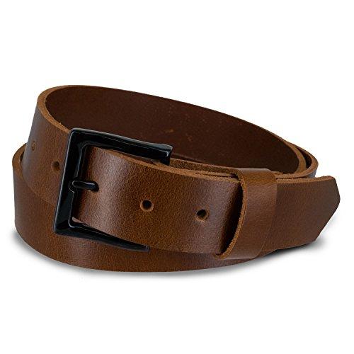 Hanks 1.5' T-Bone Jeans Belt for Casual Wear - USA Made Mens Leather Belts, 5-Year Warranty - Oak - 48