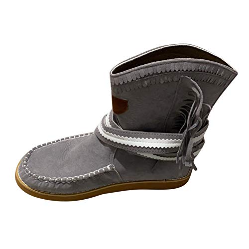 Yowablo Stiefel Frauen Mode Flache Fransen Vintage Runde Zehen Slip On Schuhe (39,Grau)