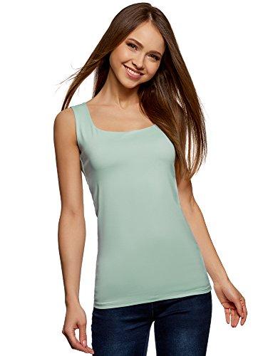 oodji Collection Mujer Camiseta de Tejido Elástico con Tirantes Anchos
