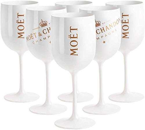 Moët & Chandon Ice Imperial Champagne 480ml Bicchiere acrilico Calice Wine Party Moet Rose Piccolo, Bianco (6 pezzi)