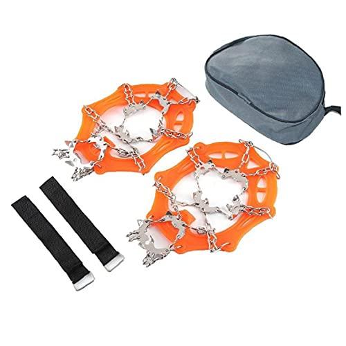 19 Dientes Caminando Traction Hielo Cleat Spikes Crampones, espigas Acero Inoxidable para Caminar Camping MoutaTering (Orange, XL)