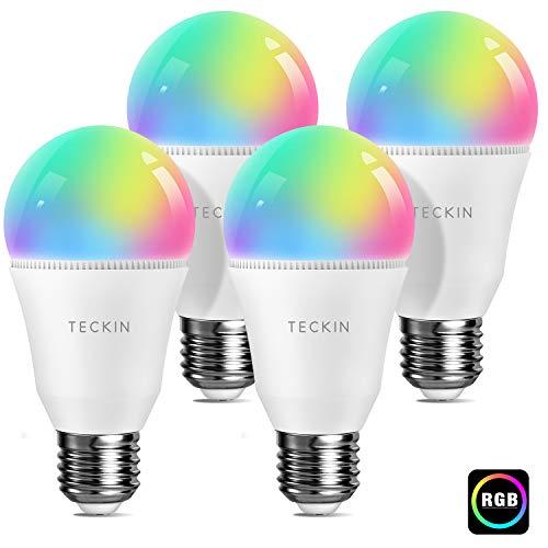 Lampadina Alexa TECKIN LED Lampadina Smart RGBCW E27 A19, Compatibile con Alexa, Google Home, Multicolore Dimmerabile 7.5W 800LM, 2800K-6000K lampadina WiFi, 4 Pack