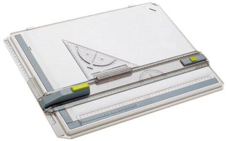 Aristo AR7035 Profi Plus Zeichenplatte (Format A3, schlagfester Kunststoff, inkl. Schnellzeichendreieck AR7090 und Studio Case) weiß