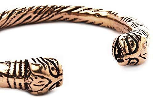 Windalf Unisex Viking Armreif Midgard Ø 6.4 cm Ethno Bohemia Armschmuck Midgardschlange Hochwertige Bronze