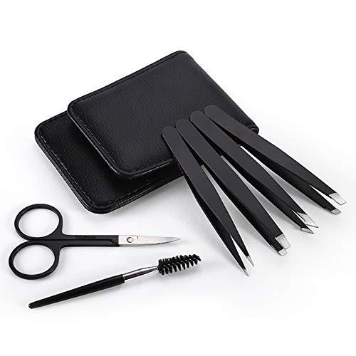 Adaskala Juego de pinzas para cejas de 6 piezas, pinzas de extensión de pestañas profesionales de acero inoxidable, tijeras curvas con estuche de viaje de cuero