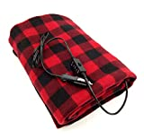 S'beauty Electric Blankets 12V Heated Travel Blanket for Car Shearing Plush 57' X 39.3' (Black Red Plaid)