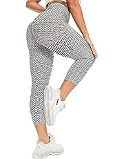 STARBILD Femmes 3/4 Legging de Sport Plissé Pantalon Court Pantacourt Push-up Fitness Musculatie Sportkleding