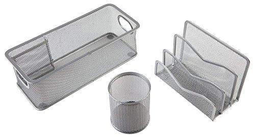 Idena 354018 Büro-Set (3-teilig, aus Metall/Drahtgitter, Set enthält: 1 Utensilienbox, 1 Köcher, 1 Briefständer) silber