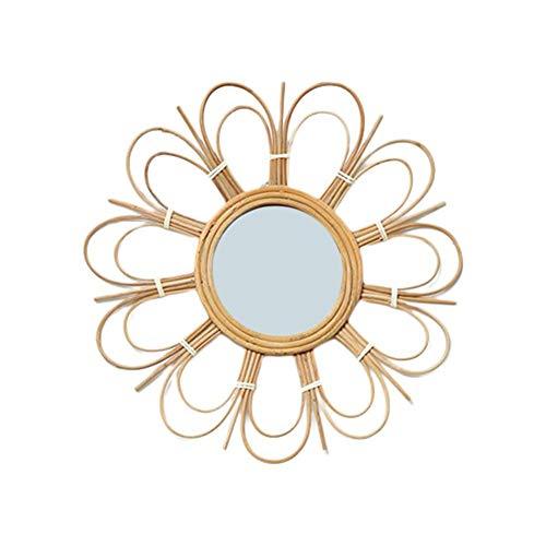 Espejo de Pared Colgante Literario Retro de ratán Colgante de Pared Espejo Decorativo Creativo Art Decó Espejo de Entrada Redondo para apartamento Sala de Estar Dormitorio