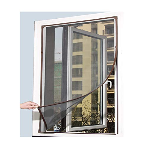 XGXQBS vliegengaas voor ramen, magnetisch, vliegengaas voor ramen, met magnetisch frame van PVC, eenvoudig te installeren, zonder boren 70x130cm(28x51inch) Brown Frame Gray Net