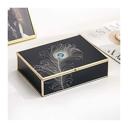ZYYH Caja organizadora de joyería de Vidrio Negro de Lujo Caja de joyería Elegante Pluma de Pavo Real Borde Dorado Decoración Anillo Collar Pendientes Caja de Almacenamiento de Reloj Regalo de mo