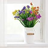 AFASOES 5 Pcs Ramos de Flores Artificiales Realistas Flores Sinteticas Flores Plástico Decoración Flores Artificiales Jarrones Flores Falso para Interiores Exteriores Jarrones Cestas Jardín, 5 Color