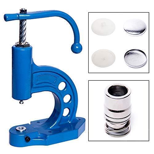 GETMORE Parts Knopfmaschinen - Set, bestehend aus Knopfpresse, Knopfwerkzeug und 100 Knopfrohlingen zum Beziehen mit Stoff - 26