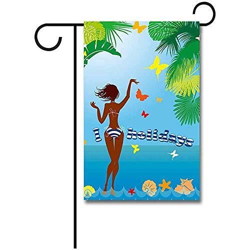 dingjiakemao Thuis Vlag,Vrouw In Bikini Badmode Op Tropisch Strand Met Palm Boom En Vlinders Tuin Vlag 30X45Cm