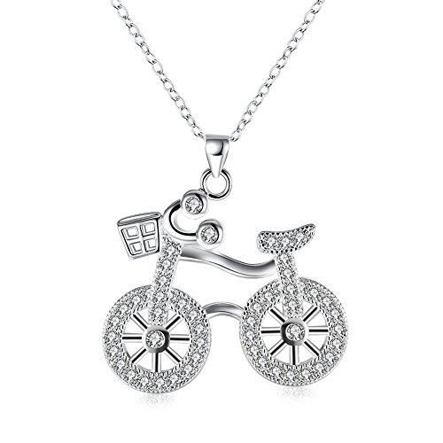 Rhodium-plattierte, 925 Sterling Silber Halskette mit Fahrrad-Anhänger, Cubic Zirkonia, 45,7 cm.