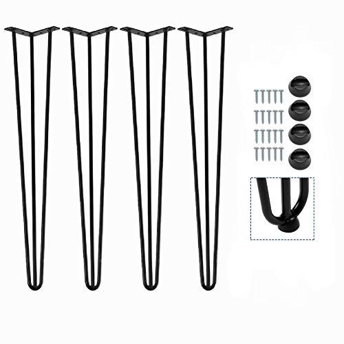 4 Stück Hairpin Legs 71cm Schwarz Tischbeine Metall Tischgestell 3 Stangen Möbelfüße Tischkufen mit Bodenschoner und Schrauben für Kommode Esstisch Schreibtisch Stizbank
