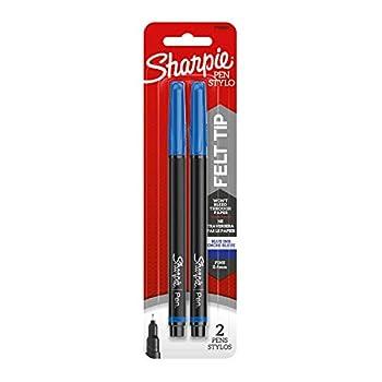 Sharpie Felt Tip Pens Fine Point Blue 2-Count
