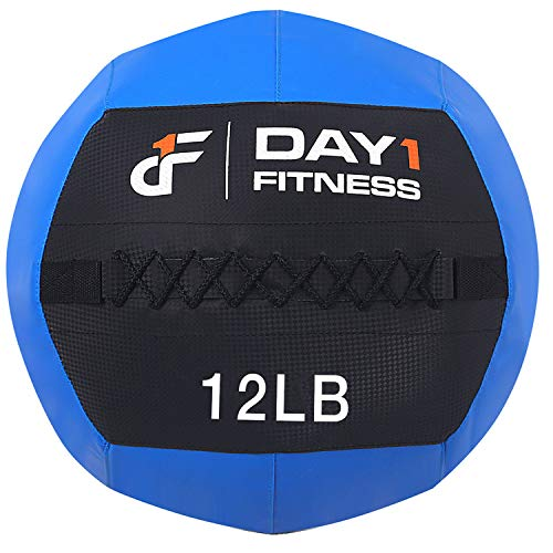 Day 1 Fitness Soft Wall Medicine Ball 12 Pounds Blue - for Exercise, Rehab, Core Strength, Large Durable Balls for TRX, Floor Exercises, Stretching