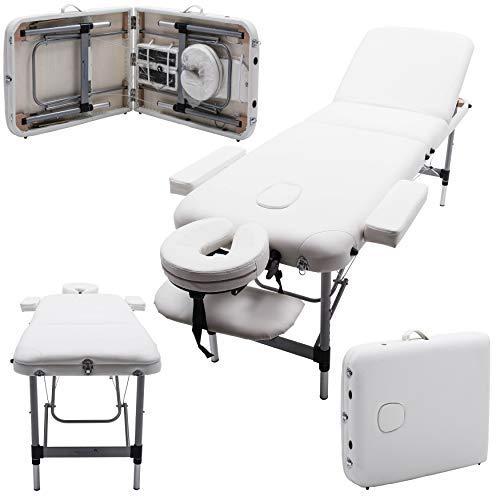 Massage Imperial® Mayfair Lettino ProfessionAle per Massaggio Portatile Alluminio 3 Sezioni Schiuma Ad Alta Densità 5cm, Bianco Avorio