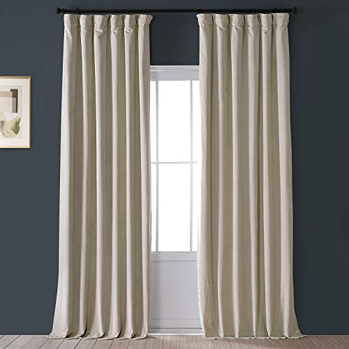 HPD Half Price Drapes VPCH-160405-96 Signature Blackout Velvet Curtain (1 Panel), 50 X 96, Cool Beige
