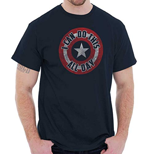 Brisco Brands I Can Do This All Day Star Shield Graphic T Shirt Men or Women Navy