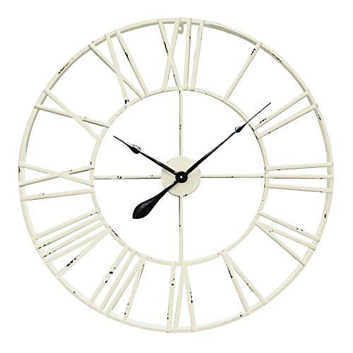 Antic by Casa Chic – Große Metall Wanduhr mit Quarz Uhrwerk – 80 cm Durchmesser – Römische Ziffern – Vintage Zeiger - Antik Weiß