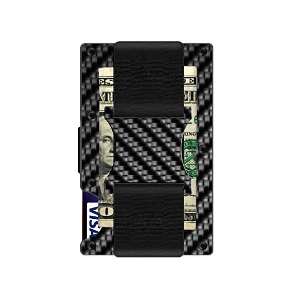 RFID Blocking – Carbon Fiber Minimalist Wallet for Men – Credit Card Holder Money Clip – Ideal Gift