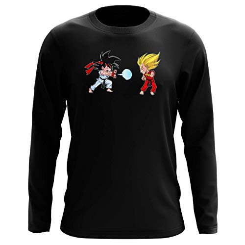 Okiwoki T-Shirt Manches Longues Noir Parodie Dragon Ball Z - Street Fighter - Sangoku, Végéta X RYU et Ken - Super Kamehadoken !! (T-Shirt de qualité Premium de Taille XXL - imprimé en France)